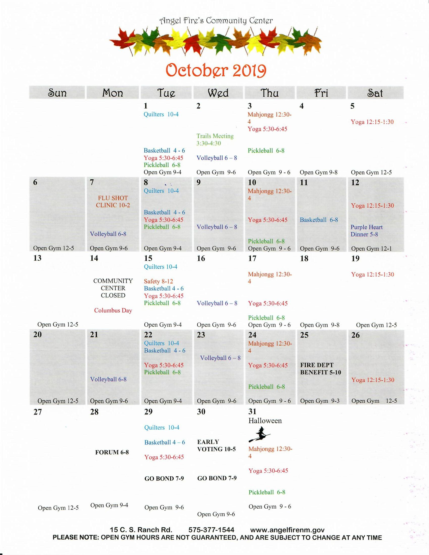 Oct.2019 Community Center calendar