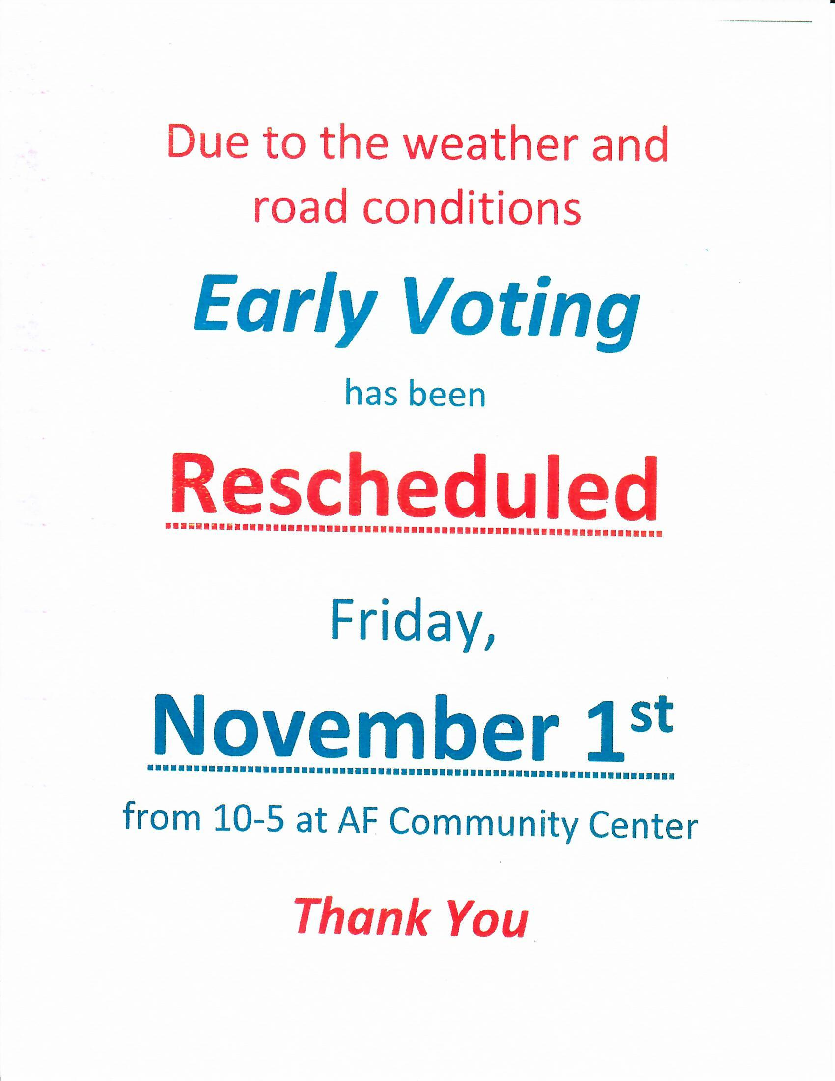 Early Voting postponed to November 1, 2019